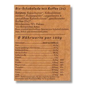 Nährwert Schokolade Choqlate Kaffee Bio 72 Prozent Kakaoanteil