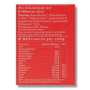 Nährwerte Schokolade Choqlate Erdbeere Bio 69 Prozent Kakaoanteil