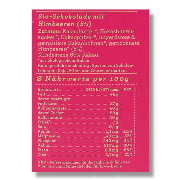 Nährwerte Schokolade Choqlate Himbeere Bio 69 Prozent Kakaoanteil