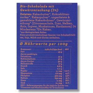 Nährwerte Schokolade Choqlate Oriental Bio 72 Prozent Kakaoanteil