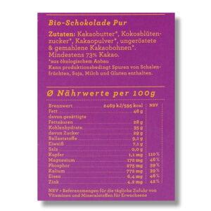 Nährwerte Schokolade Choqlate Pur Bio 73 Prozent Kakaoanteil