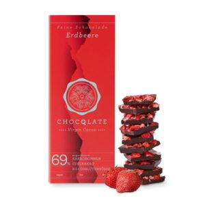 Schokolade Choqlate Erdbeere Bio 69 Prozent Kakaoanteil