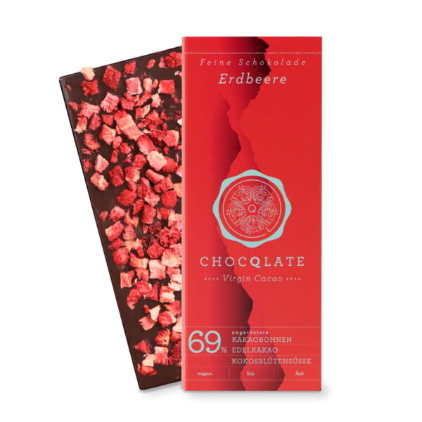 Schokoladentafel Choqlate Erdbeere Bio 69 Prozent Kakaoanteil